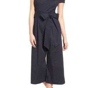286d748e7825 Chelsea28 Pants - Chelsea28 navy off shoulder wide leg jumpsuit blue